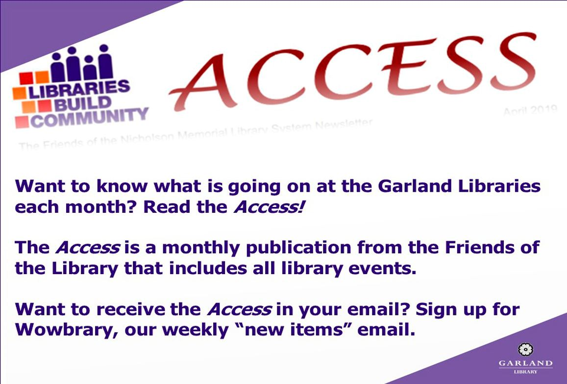 Friends of the Library Access Newsletter slide