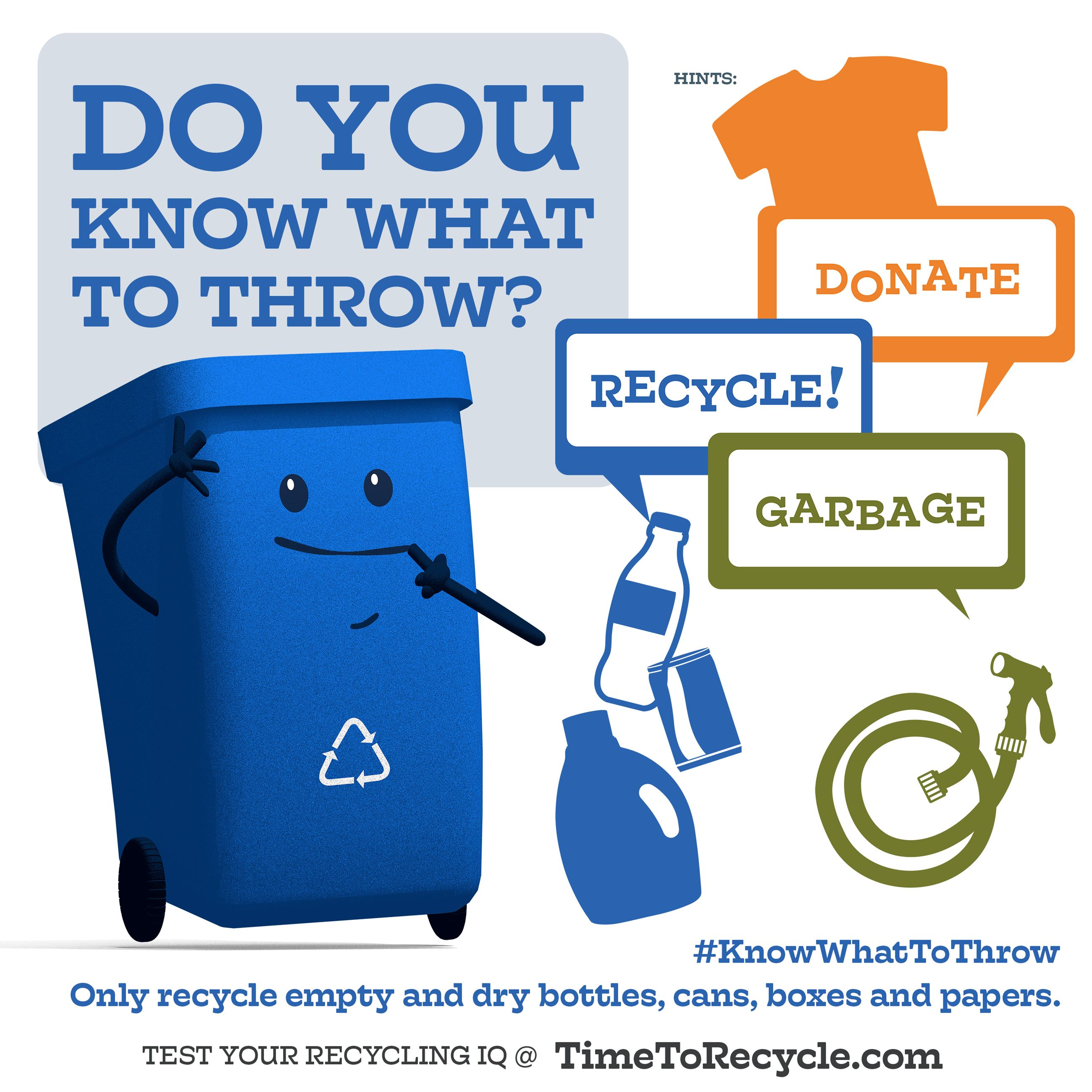 Carter the Recycle Cart wants to know if you know what to throw? Opens in new window